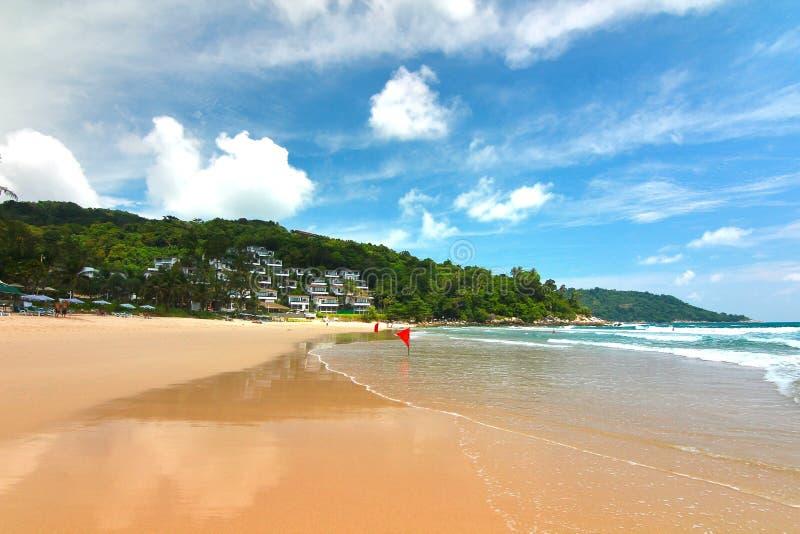 Feiner weißer Sand, Palmen und Türkiswasser KOH Samui, Thailand lizenzfreie stockfotos