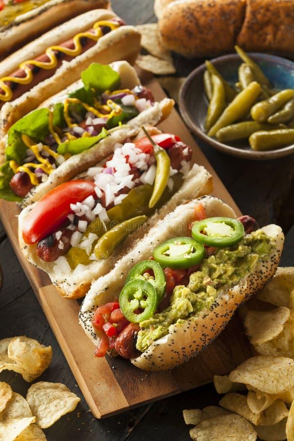 Feinschmecker grillte alle Rindfleisch Hots-Hunde lizenzfreie stockfotos