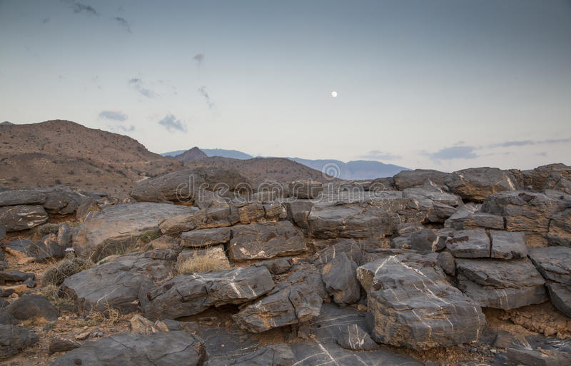 Feintes de Jebel au coucher du soleil photographie stock