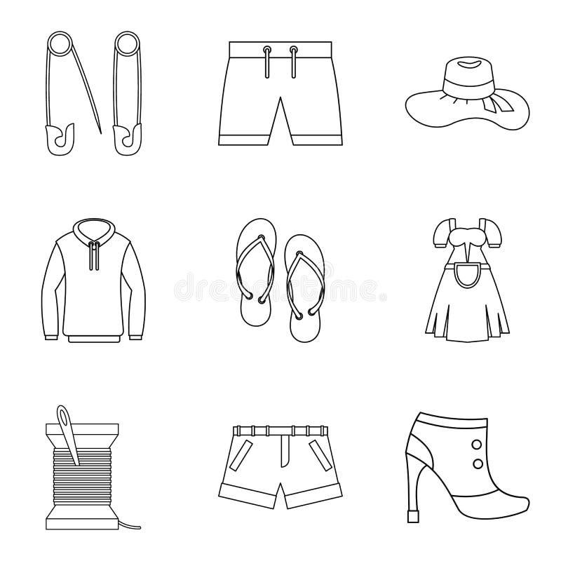 A feira de comércio de ícones da roupa ajustou, esboçou o estilo ilustração royalty free