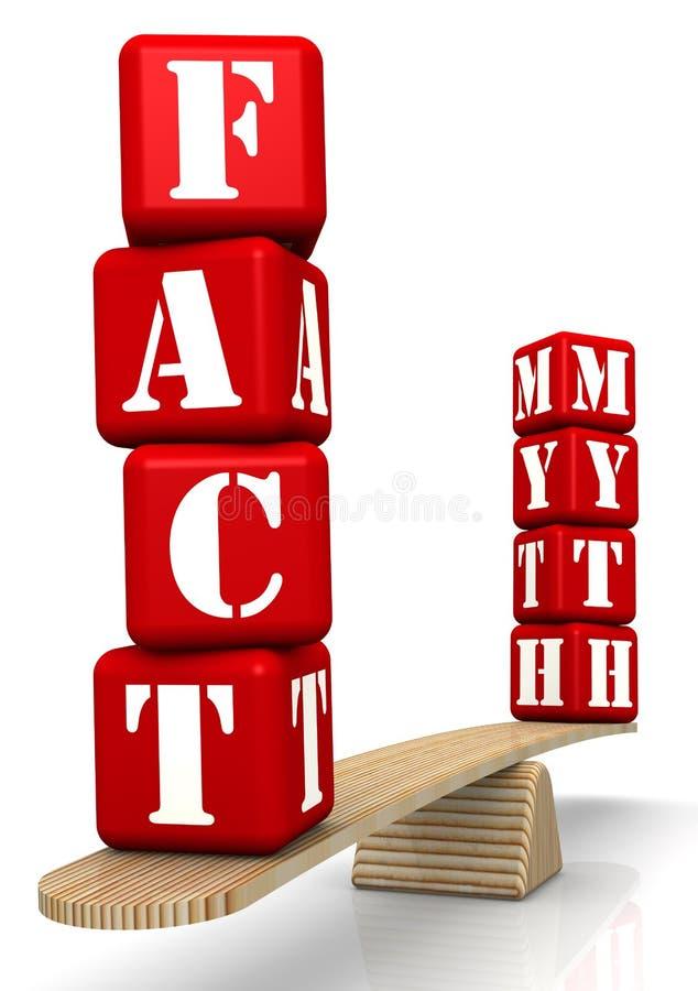FEIT of MYTHE? Vergelijking op de schalen stock illustratie