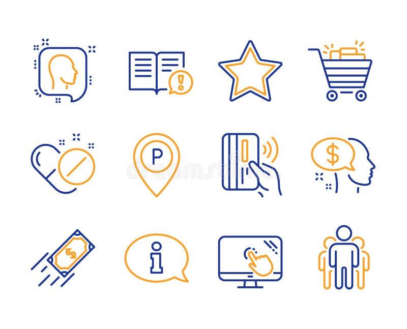Feiten, Snelle betaling en Medische geplaatste pillenpictogrammen Het boodschappenwagentje, betalen en de Informatietekens Vector royalty-vrije illustratie