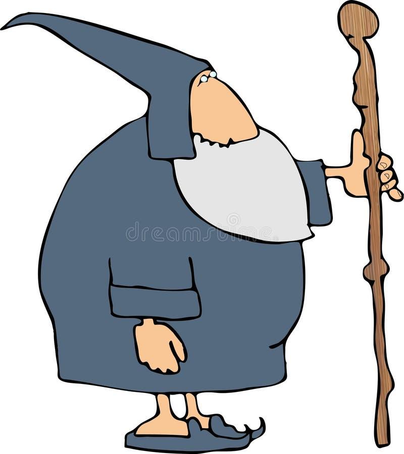 Feiticeiro com uma vara de passeio ilustração royalty free