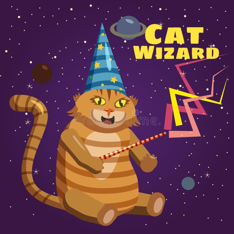 Feiticeiro do gato, caráter, estrelas do fundo do planeta, meme, varinha mágica, estilo dos desenhos animados, vetor, ilustração ilustração royalty free