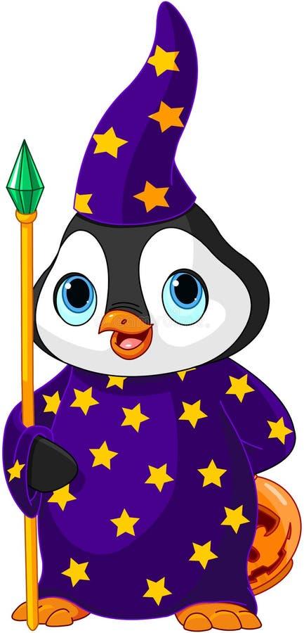 Feiticeiro do pinguim de Dia das Bruxas ilustração stock