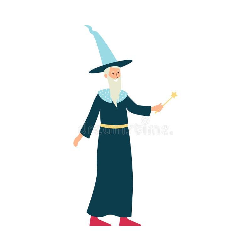 Feiticeiro dos desenhos animados com traje e a varinha mágica ilustração royalty free