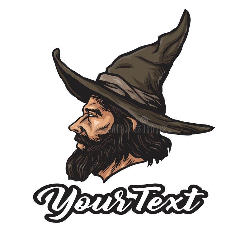 Feiticeiro Logo Cartoon Character Design Vetora ilustração stock