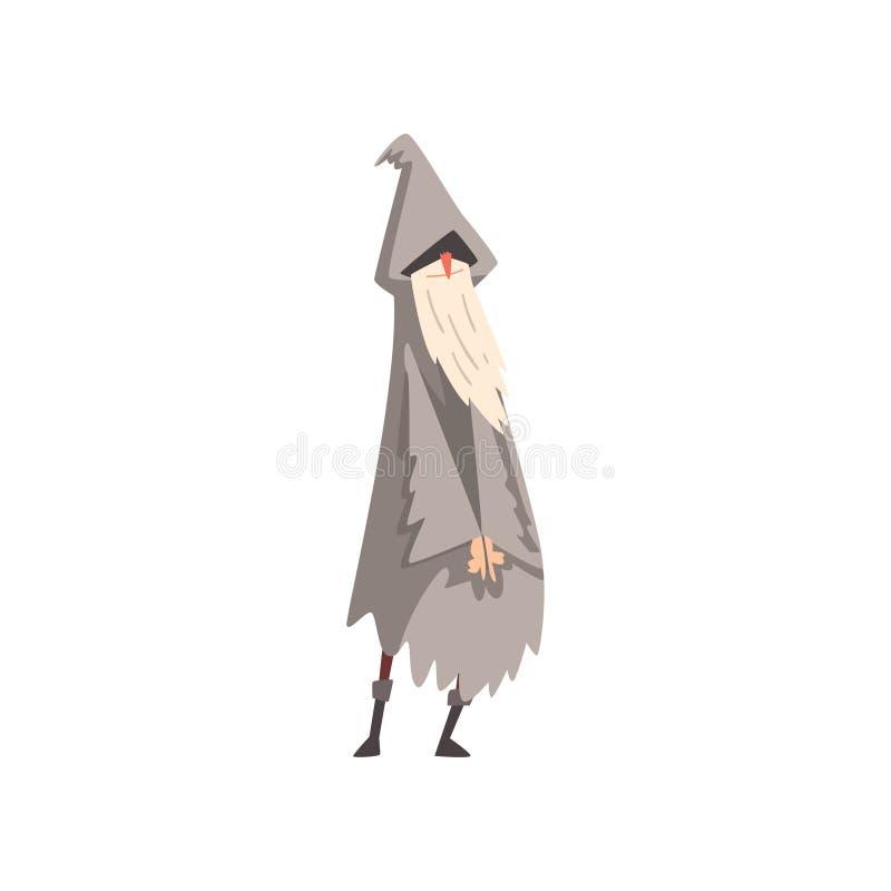 Feiticeiro masculino idoso, envoltório de Gray Bearded Wizard Character Wearing e ilustração aguçado do vetor do chapéu ilustração do vetor