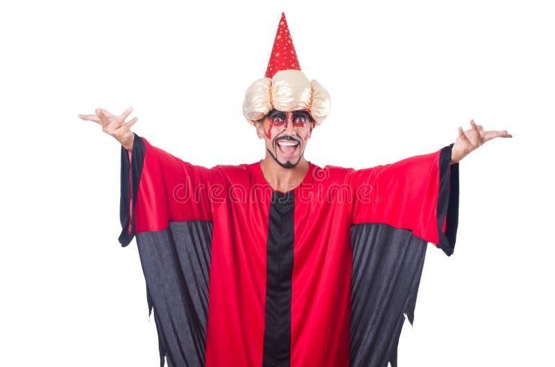 Feiticeiro no traje vermelho imagem de stock royalty free