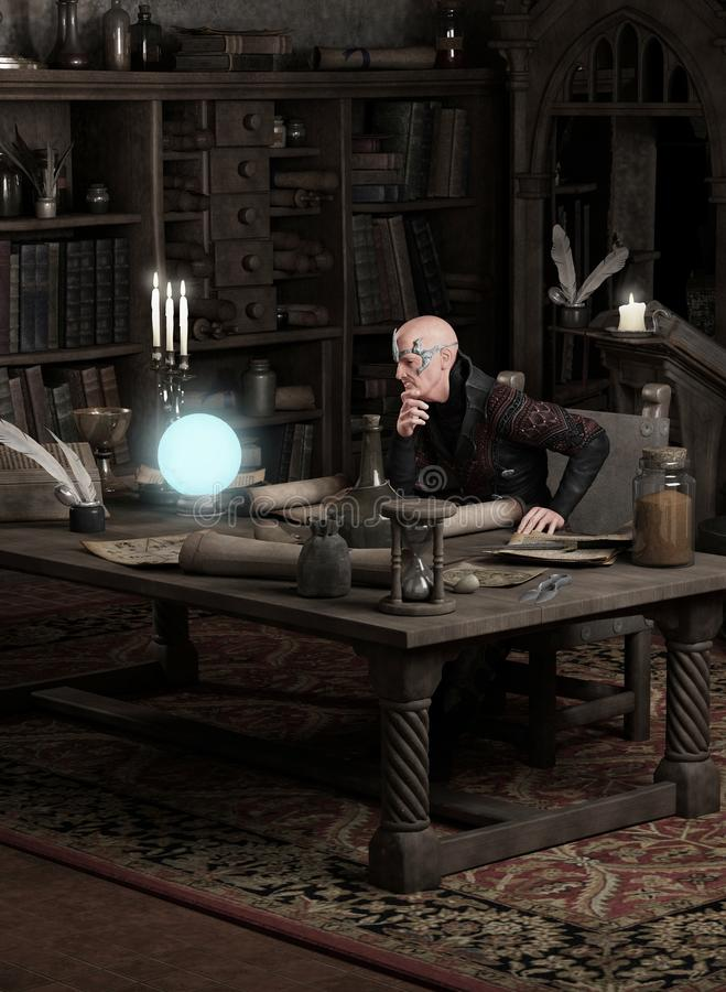Feiticeiro que consulta uma esfera mágica ilustração stock