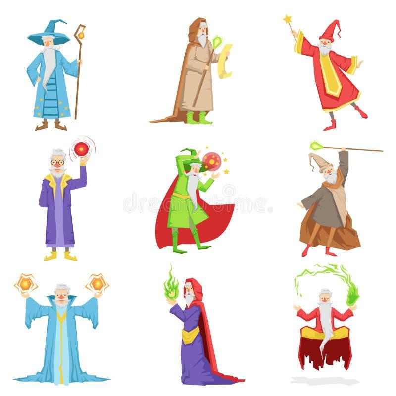 Feiticeiros clássicos da fantasia ajustados dos caráteres ilustração royalty free