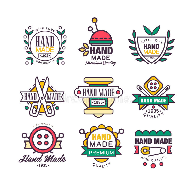Feito à mão, confecção de malhas e grupo do alfaiate de etiquetas vector ilustrações ilustração royalty free