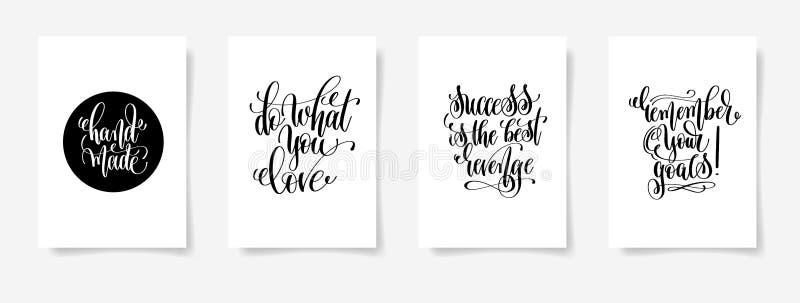 Feito à mão, faça o que você ama, sucesso é a vingança, recordam o yo ilustração do vetor