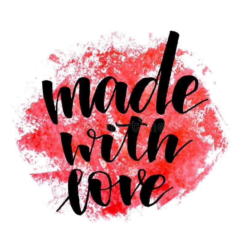 Feito com amor Texto escrito ? m?o Caligrafia moderna Inspiratio foto de stock royalty free