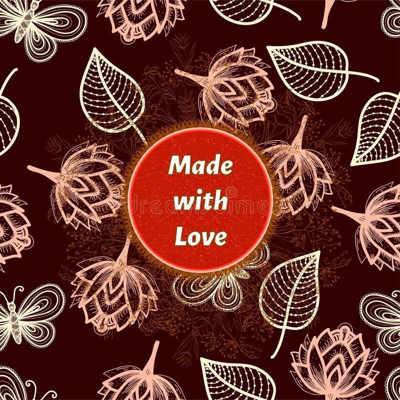 Feito com crachá do amor com rotulação Etiqueta ou selo para produtos feitos a mão, caseiros, cosméticos Elementos florais e erva ilustração stock