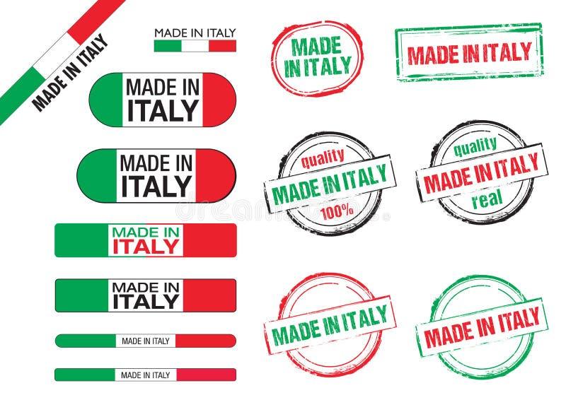 Feito em ícones de Italia ilustração stock