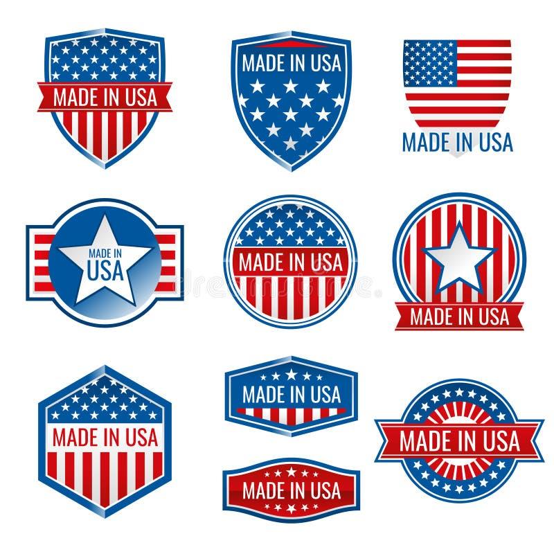 Feito em ícones do vetor dos EUA ilustração do vetor