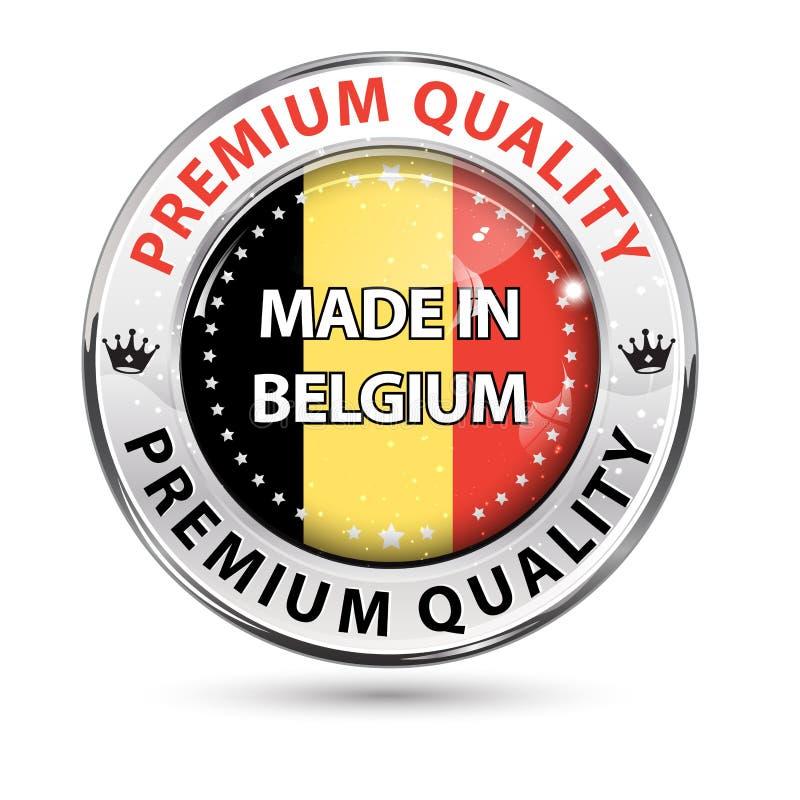 Feito em Bélgica, qualidade superior - botão elegante brilhante ilustração do vetor