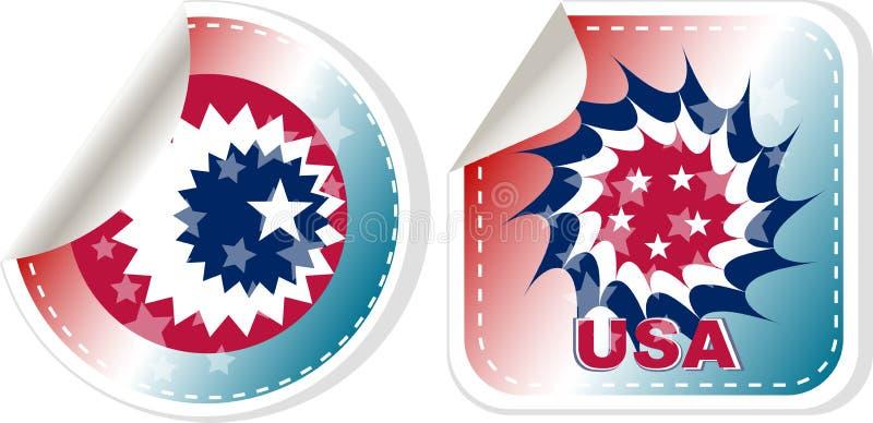 Feito em etiquetas dos EUA ajuste isolado sobre o branco ilustração do vetor