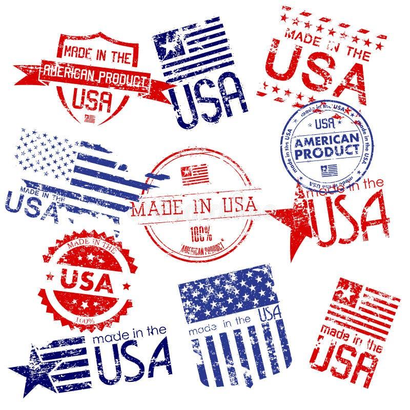 Feito em selos dos EUA ilustração do vetor