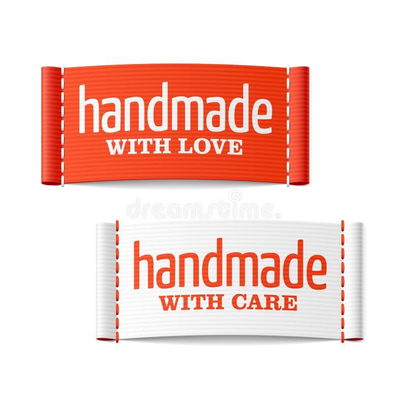 Feito a mão com etiquetas do amor e de cuidado ilustração royalty free
