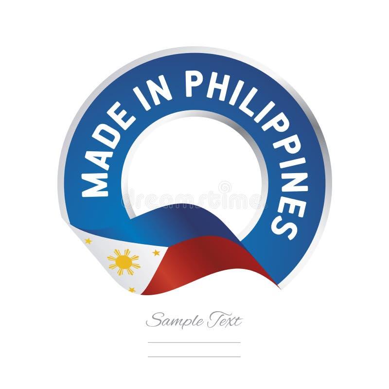 Feito na bandeira azul do botão da etiqueta da cor da bandeira de Filipinas ilustração royalty free