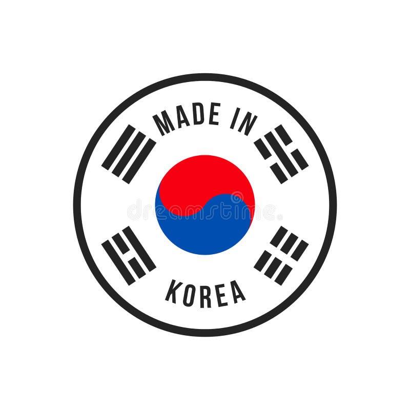 Feito na bandeira do vetor de Coreia para o ícone do selo de qualidade ilustração do vetor