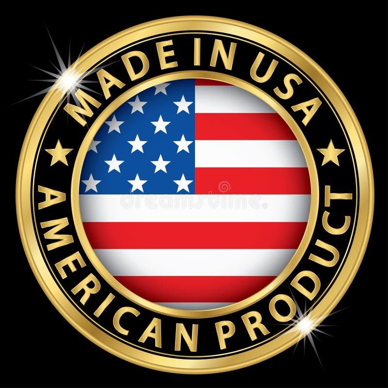 Feito na etiqueta americana do ouro do produto dos EUA, vetor IL ilustração stock