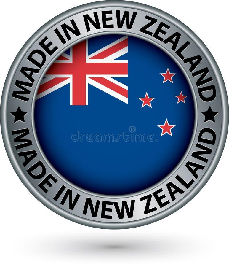 Feito na etiqueta da prata de Nova Zelândia com bandeira, ilustração do vetor ilustração royalty free
