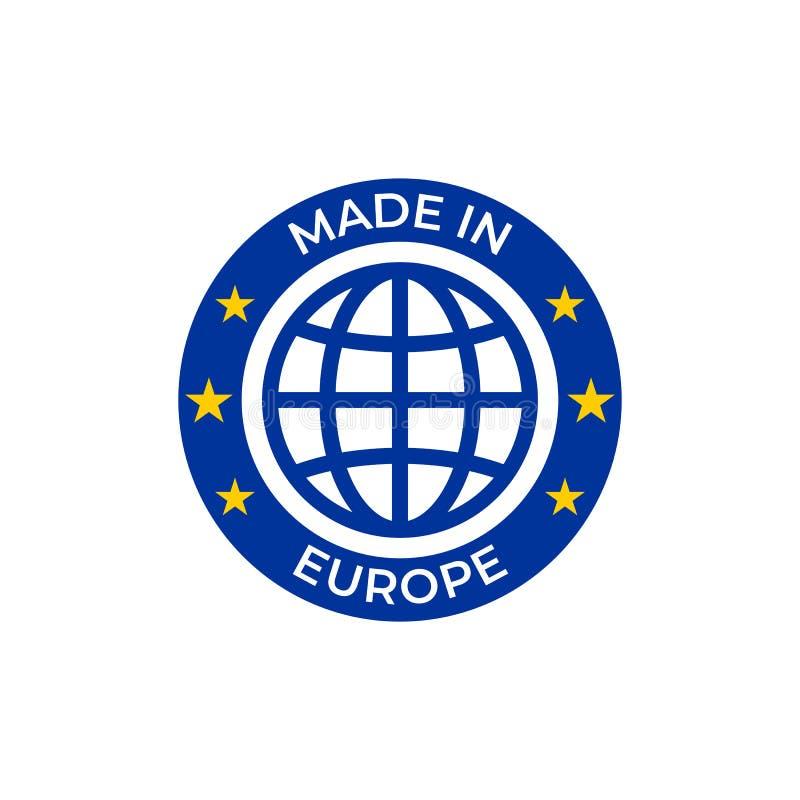 Feito na etiqueta da qualidade de Europa Vetor feito na etiqueta do selo da União Europeia, ícone do globo das estrelas da UE ilustração stock