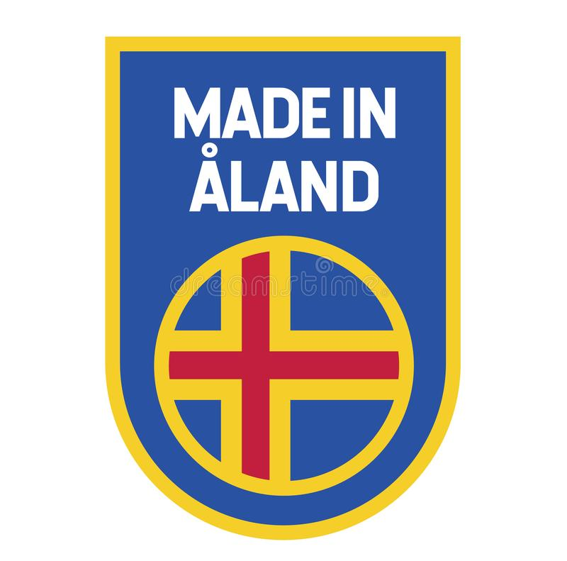 Feito na etiqueta de Aland no branco ilustração stock