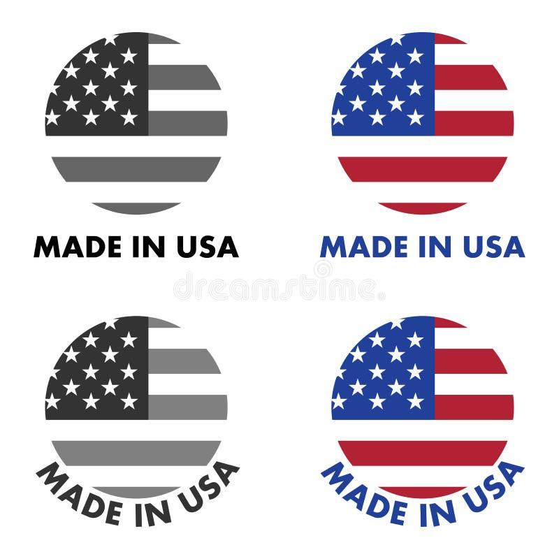 Feito na etiqueta dos EUA Listras vermelhas e estrelas brancas no campo azul, cl ilustração royalty free