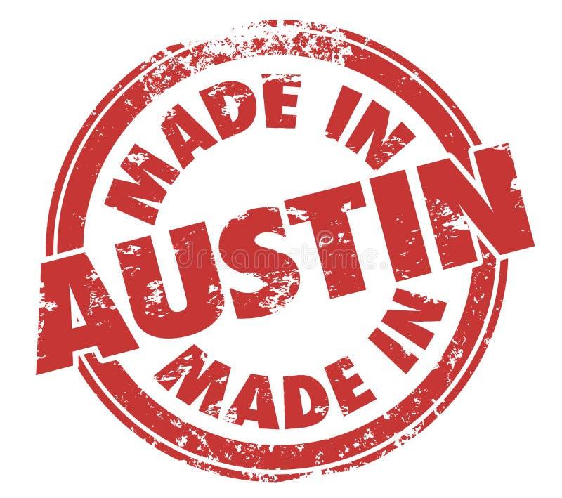 Feito na origem orgulhosa do selo de Austin Texas Round Red Ink Grunge ilustração stock