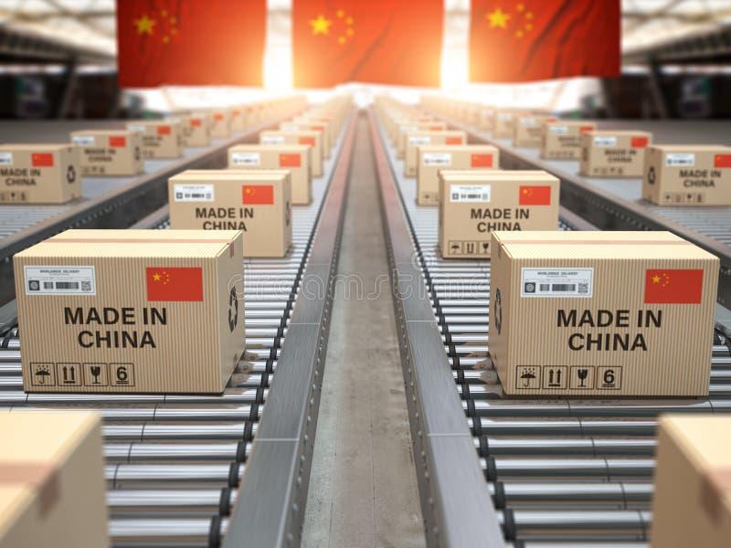 Feito na porcelana Caixas de cartão com o texto feito em China e na bandeira chinesa no transporte de rolo ilustração stock