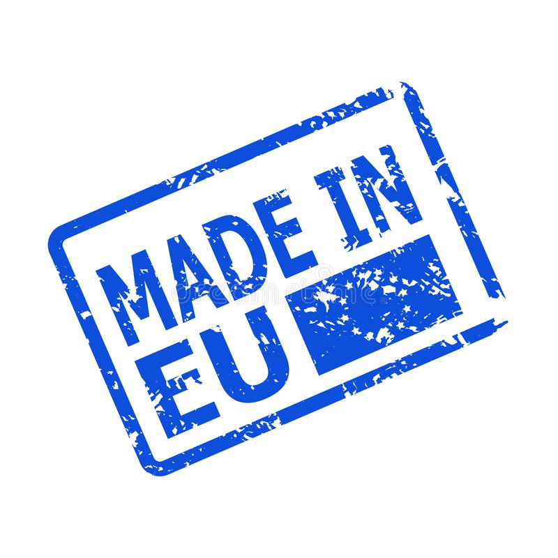 Feito na UE, artigo do país da origem do carimbo de borracha ilustração stock