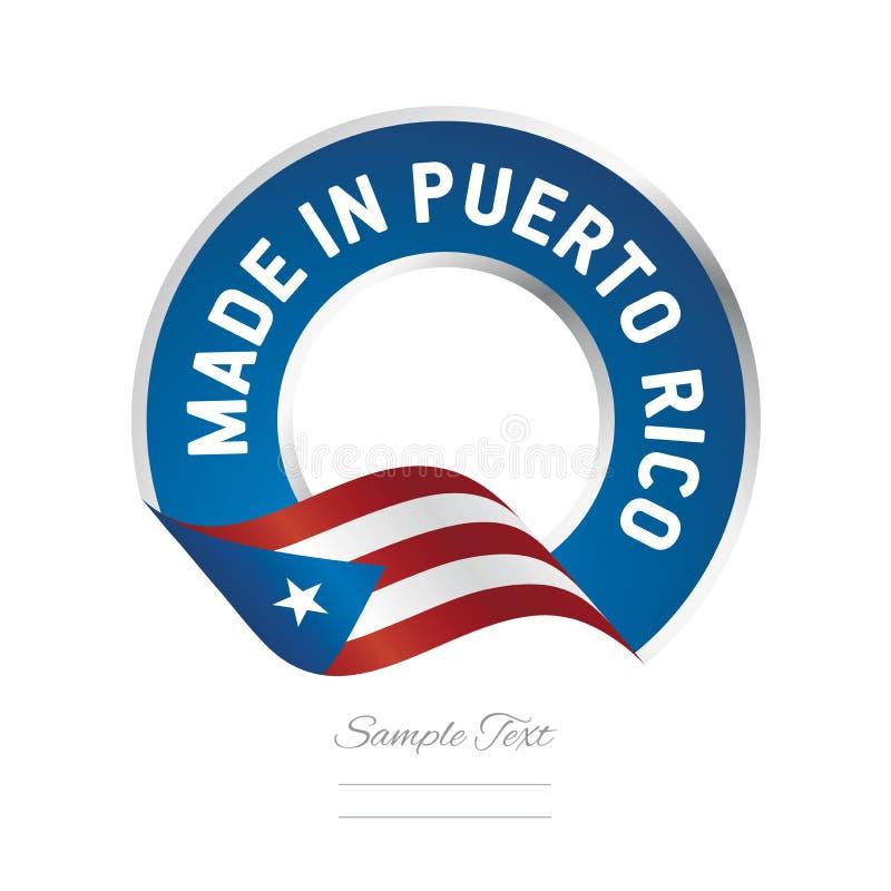 Feito no ícone azul do logotipo da etiqueta da cor da bandeira de Porto Rico ilustração do vetor