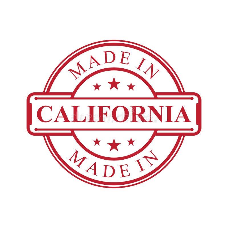 Feito no ícone da etiqueta de Califórnia com o emblema da cor vermelha no fundo branco ilustração royalty free