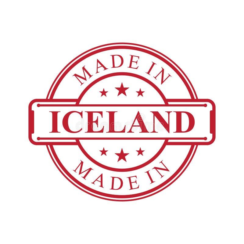 Feito no ?cone da etiqueta de Isl?ndia com o emblema da cor vermelha no fundo branco ilustração royalty free