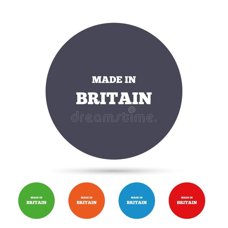 Feito no ícone de Grâ Bretanha Símbolo da produção da exportação ilustração stock