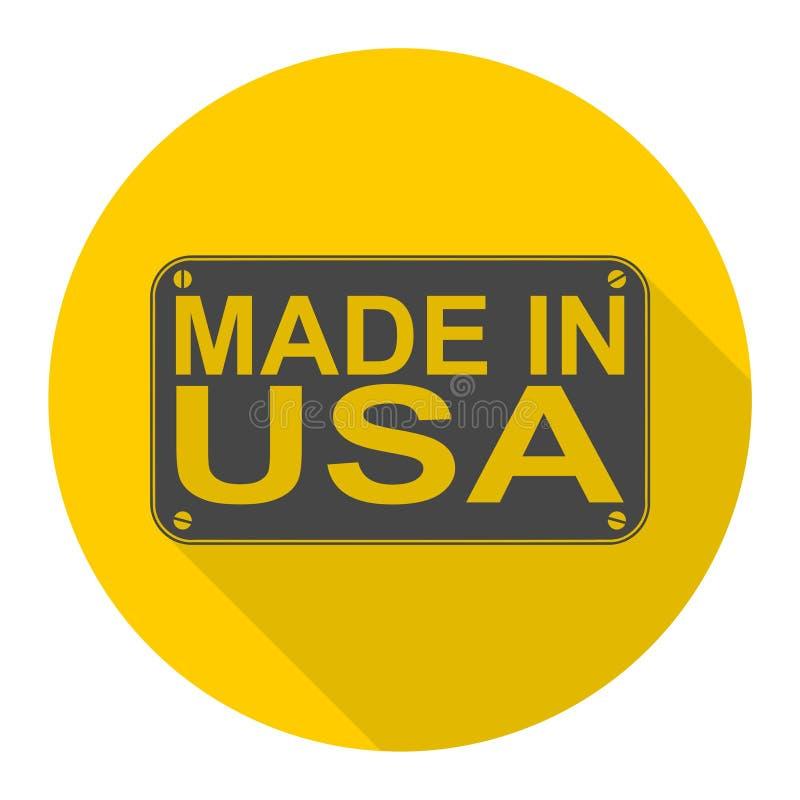 Feito no ícone dos EUA com sombra longa ilustração stock