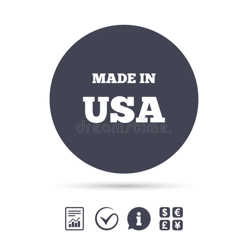 Feito no ícone dos EUA Símbolo da produção da exportação ilustração royalty free