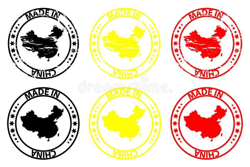 Feito no carimbo de borracha de China ilustração stock