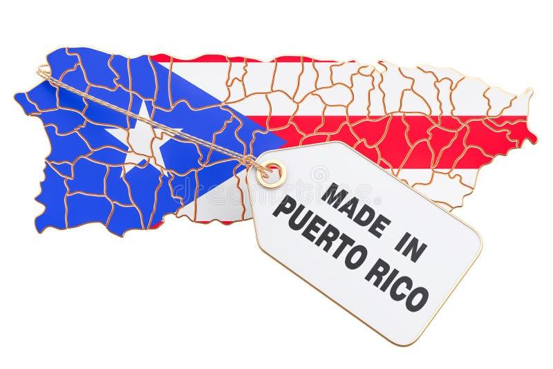 Feito no conceito de Porto Rico, rendição 3D ilustração royalty free