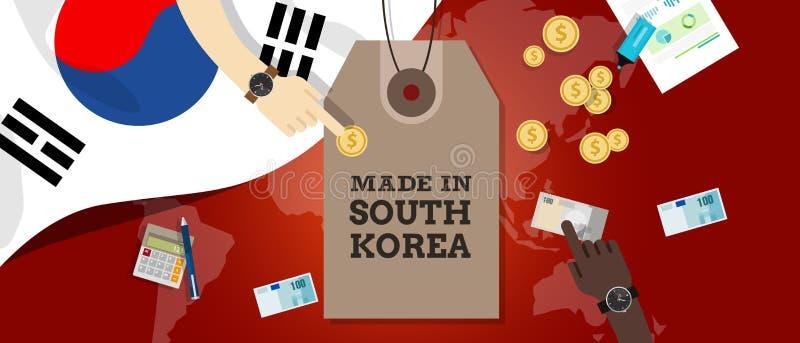 Feito no dinheiro da exportação da transação do mapa do mundo da bandeira do preço do selo de Coreia do Sul ilustração stock