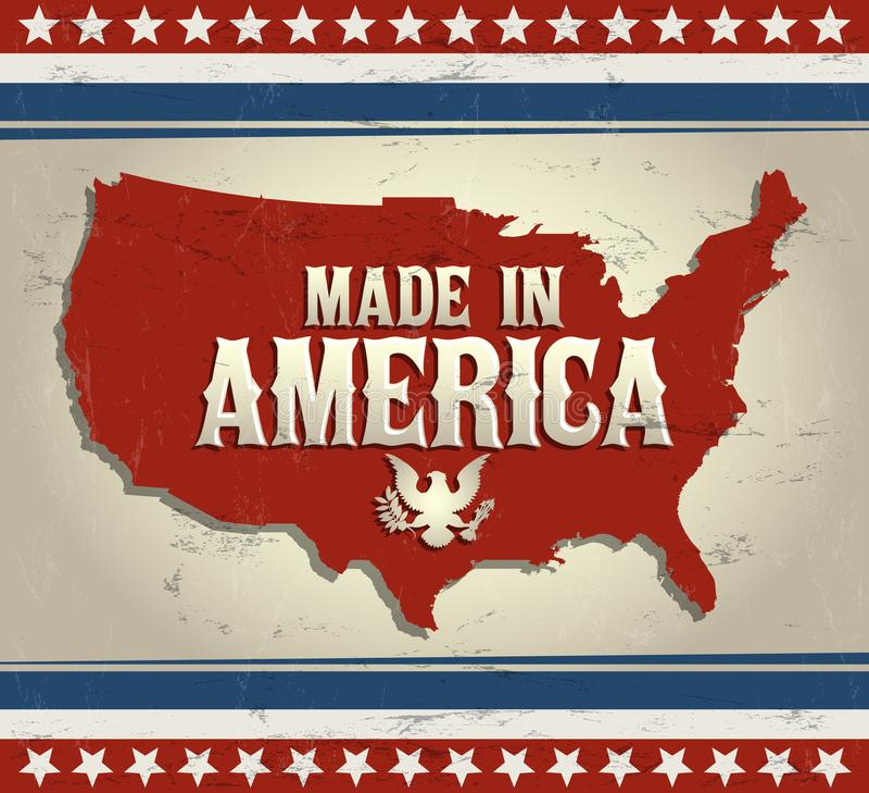 Feito no emblema de América com mapa ilustração royalty free