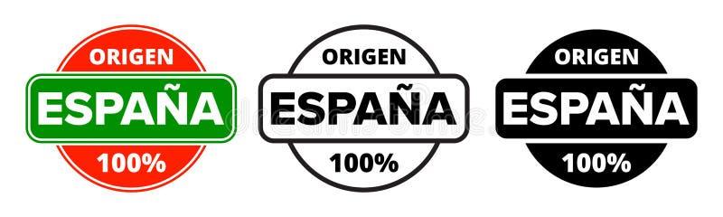 Feito no logotipo da Espanha, selo da etiqueta do produto de Origen Espana O espanhol do vetor fez o ícone do pacote da produção  ilustração royalty free