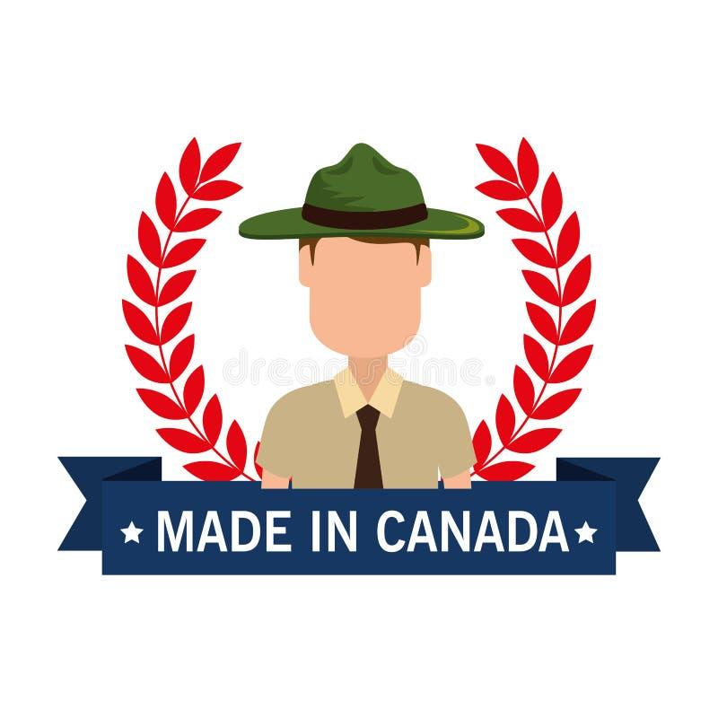 Feito no selo de Canadá com floresta da guarda florestal ilustração royalty free