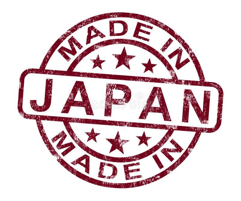Feito no selo de Japão mostra o japonês ilustração do vetor