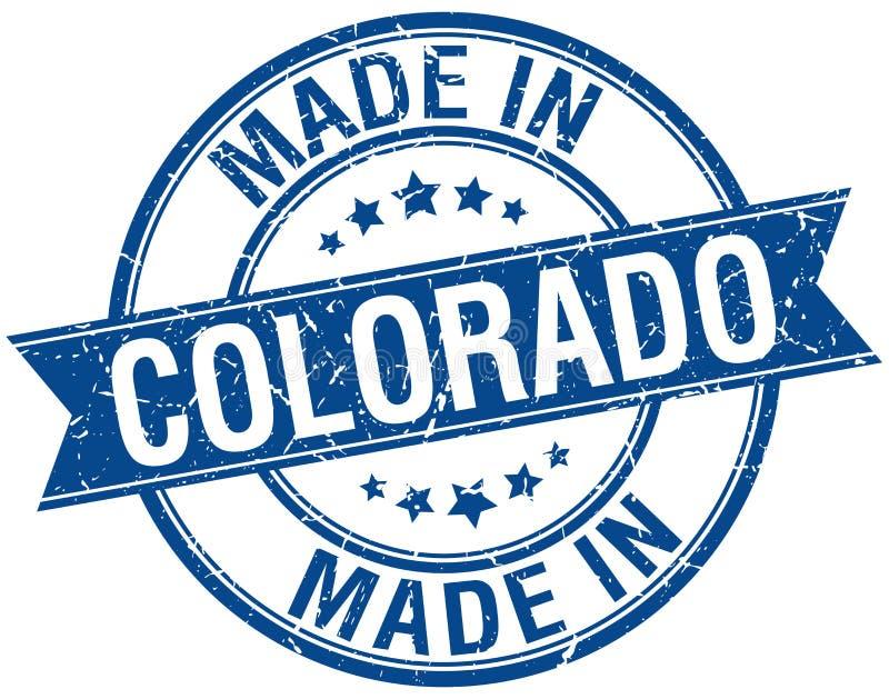 Feito no selo redondo azul de Colorado ilustração royalty free