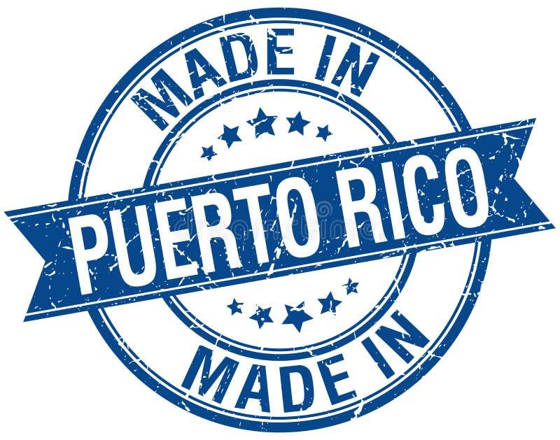 Feito no selo redondo azul de Porto Rico ilustração stock